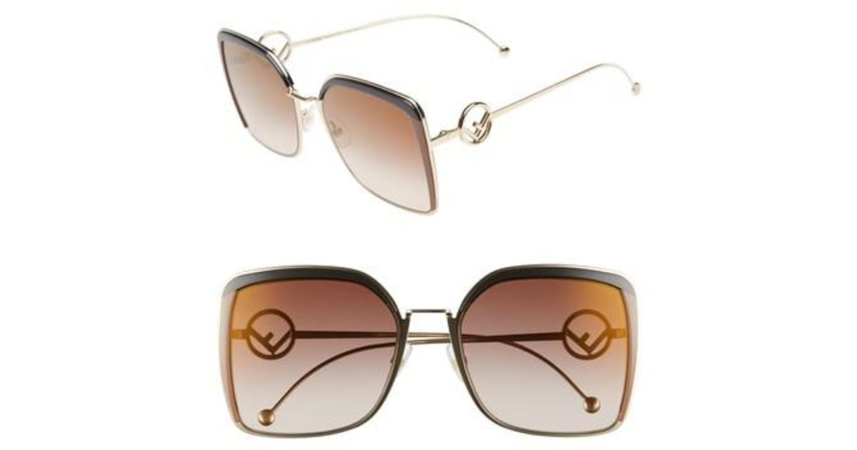 cc9a03932b0 Lyst - Fendi 58mm Square Sunglasses in Brown