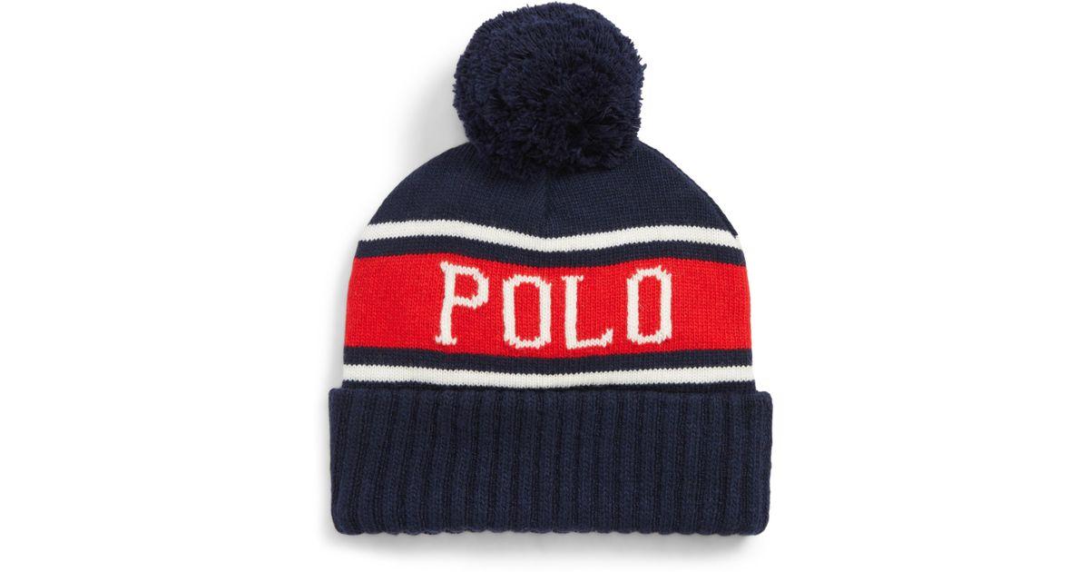 2ab6a5663c93a Polo Ralph Lauren Usa Stadium Pom Beanie - in Blue for Men - Lyst