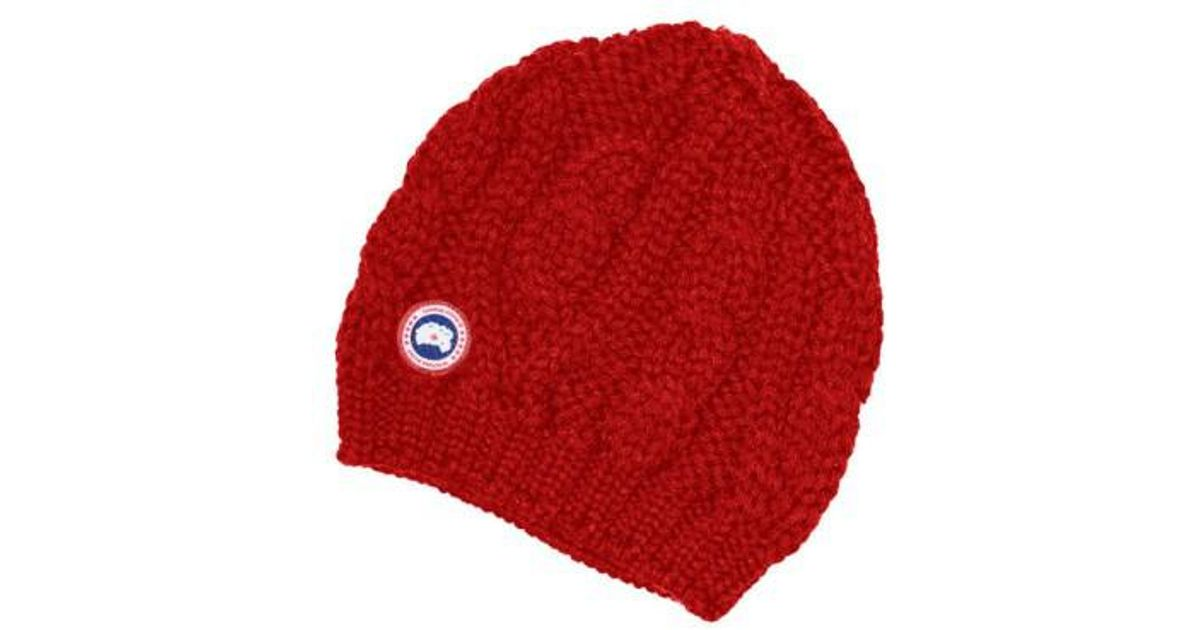 a7deabf623f Lyst - Canada Goose Cable Knit Merino Wool Beanie in Red