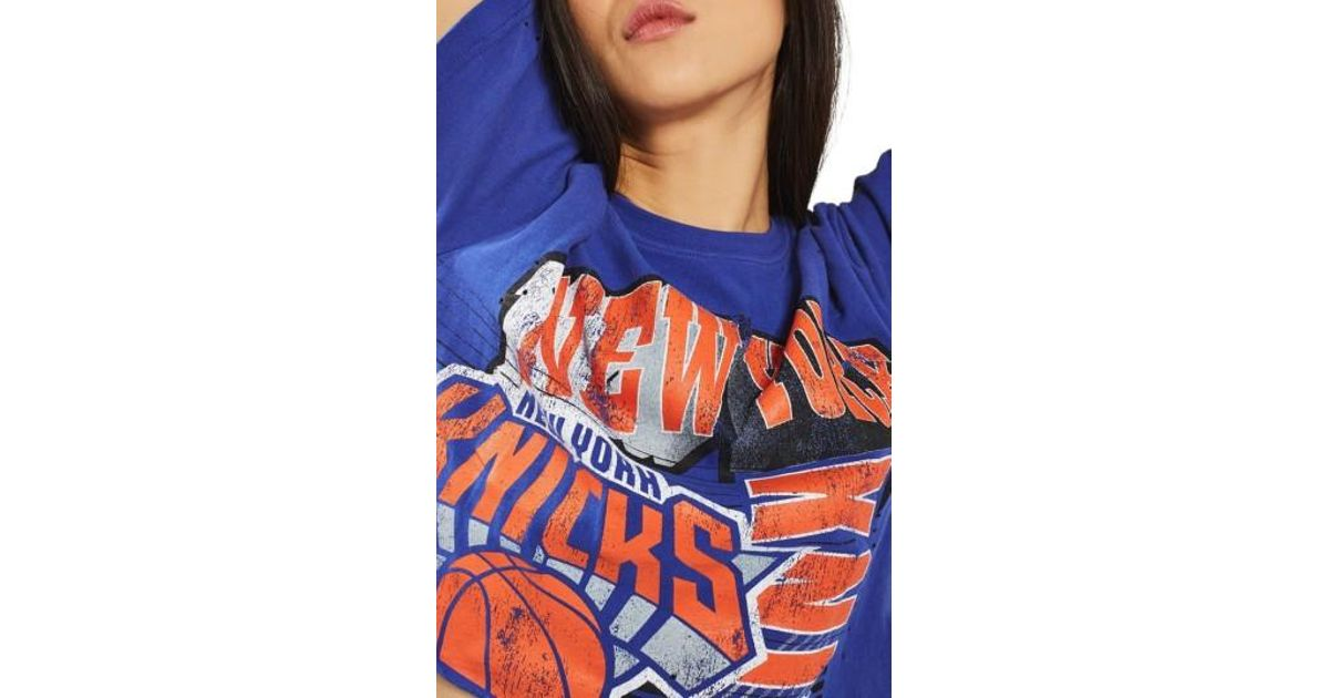 5ef32258184 Lyst - TOPSHOP By Unk New York Knicks Crop Top in Blue