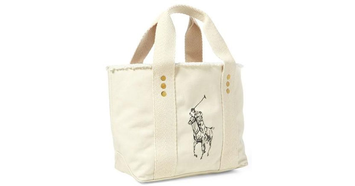 Ralph Lauren Canvas Red Pony Handbag Blue White