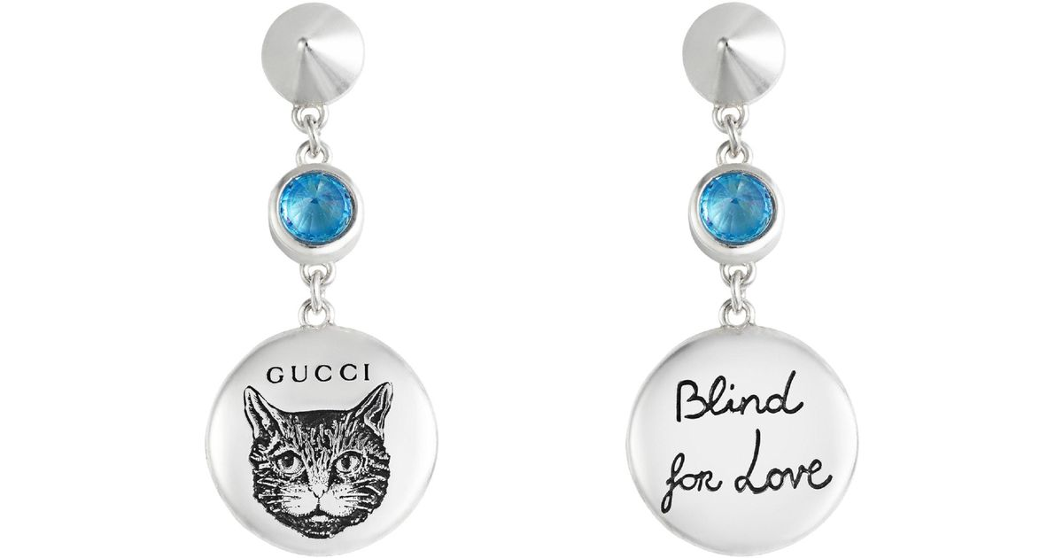 d2a3f3f45 Gucci Gg Blind For Love Mismatch Drop Earrings - Lyst