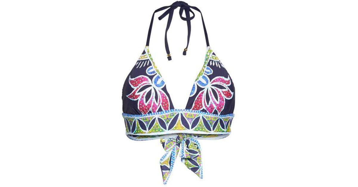 ba8b8a1d540b7 Trina Turk Lotus Halter Bikini Top in Blue - Lyst