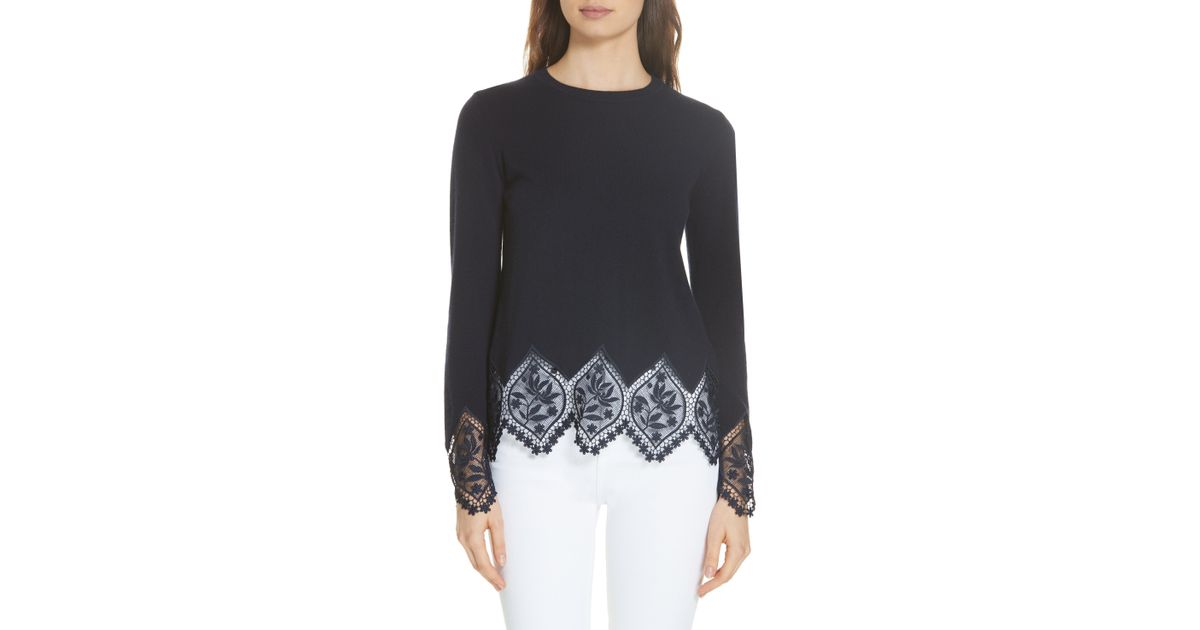 7fb4795bb1 Lyst - Ted Baker Aylex Lace Detail Wool Cashmere Blend Sweater