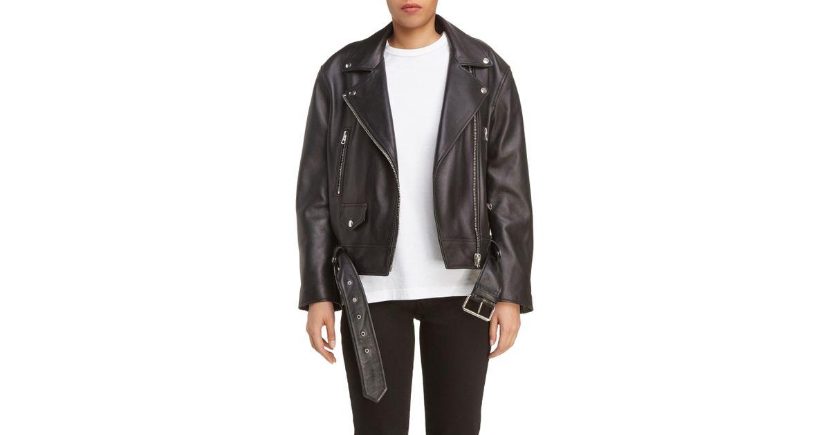 46514f5f2 Acne - Black Merlyn Leather Moto Jacket - Lyst
