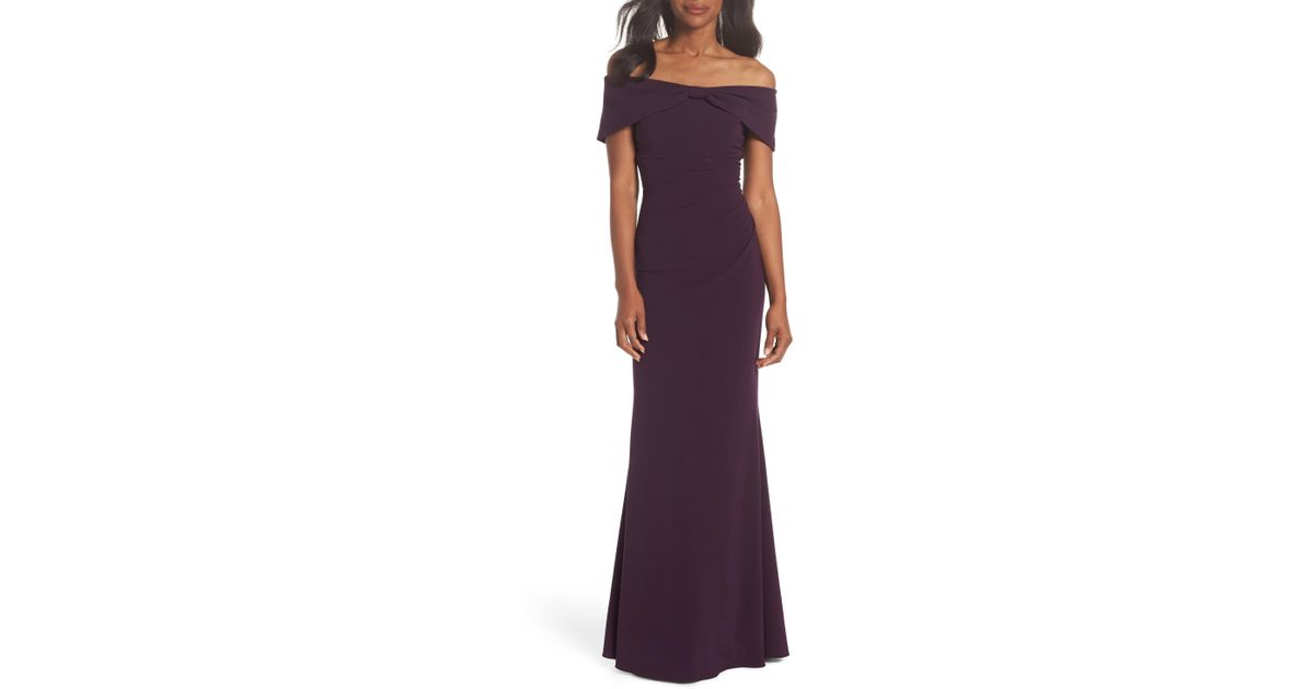4db0e7a9a089 Lyst - Eliza J Knot Front Off The Shoulder Gown in Purple