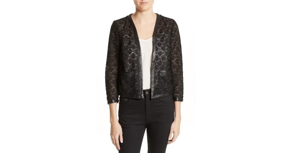 99ea6f432c Lyst - The Kooples Faux Leather Trim Lace Jacket in Black