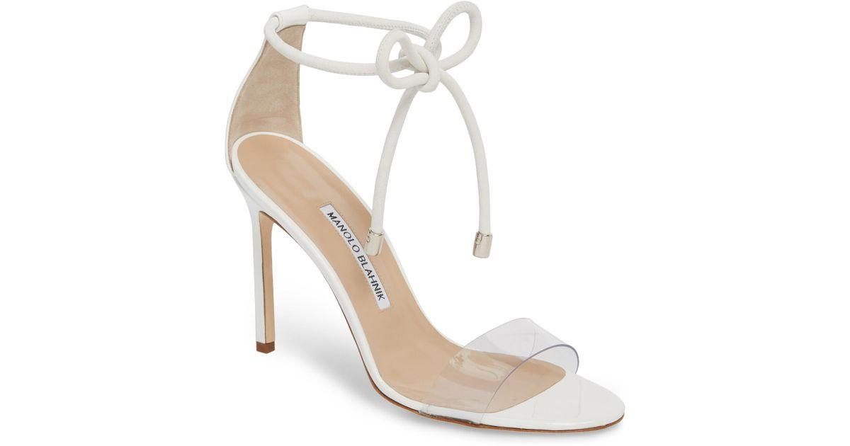 dc16d20fa7e Lyst Manolo Blahnik Estro Ankle Tie Sandal In White