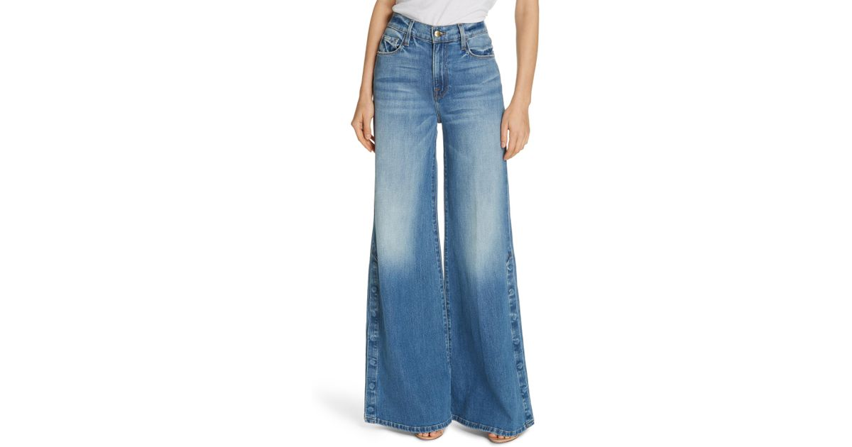 b858ac5155 Lyst - FRAME Le Palazzo Snap Away Hem Wide Leg Jeans in Blue