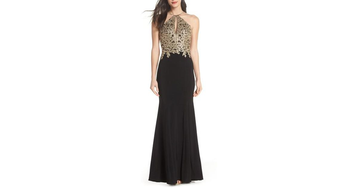 Lyst - Xscape Gold Embroidery Halter Neck Gown in Black