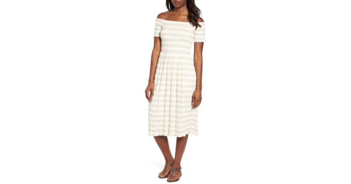 4eb2c4b777 Lyst - Lucky Brand Stripe Smocked Midi Dress in Natural