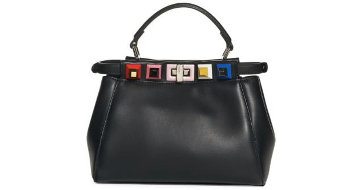 f972b7c4fa Lyst - Fendi Mini Peekaboo Studded Leather Bag