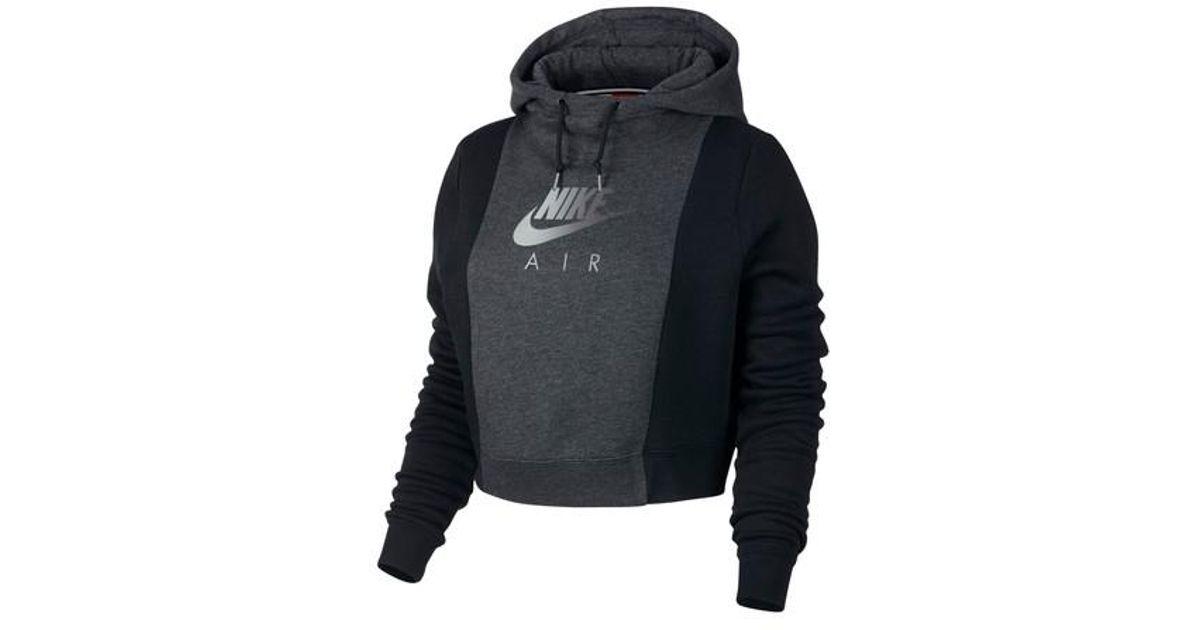 94fd2a9bd6848 ... Lyst - Nike Nsw Rally Air Women s Crop Pullover Hoodie in Black ...