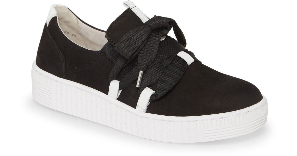Gabor Fashion Lace-up Sneaker in Black