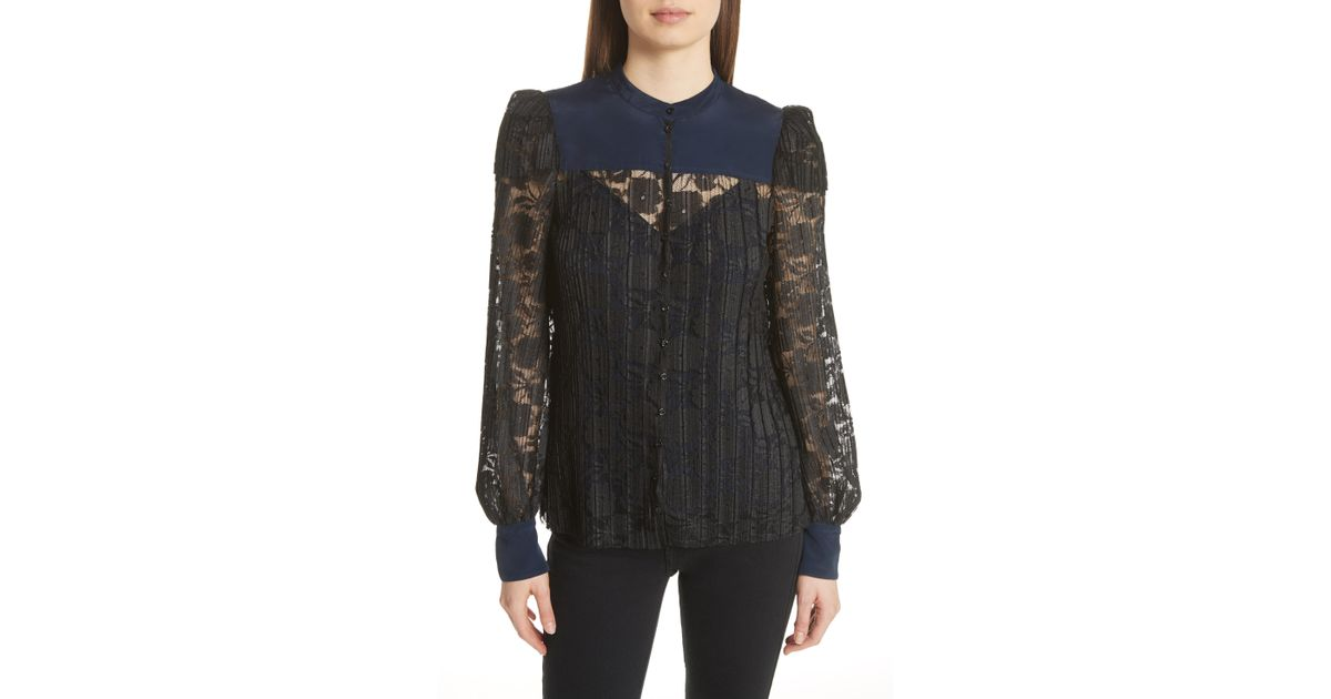 7a5e1af9048874 Lyst - See By Chloé See By Chlo  Contrast Detail Silk Lace Blouse in Black