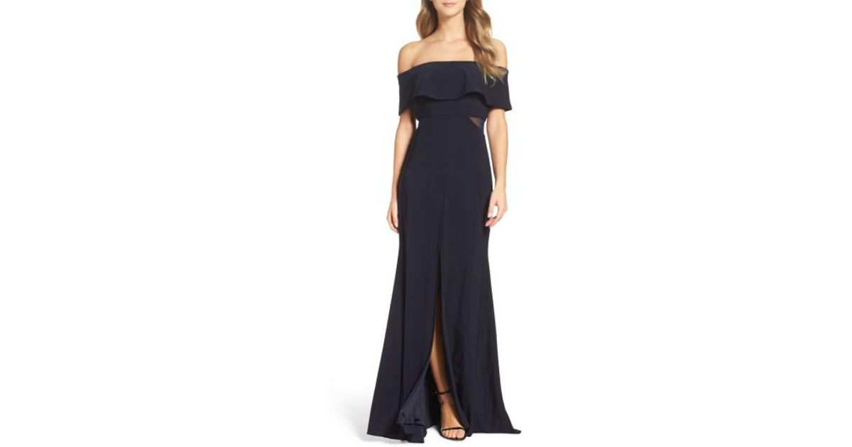 Lyst - Xscape Jersey Popover Gown in Blue