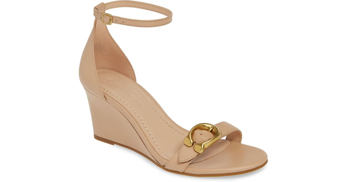 8826cd46ee1 COACH Natural Odetta Leather Wedge Sandals