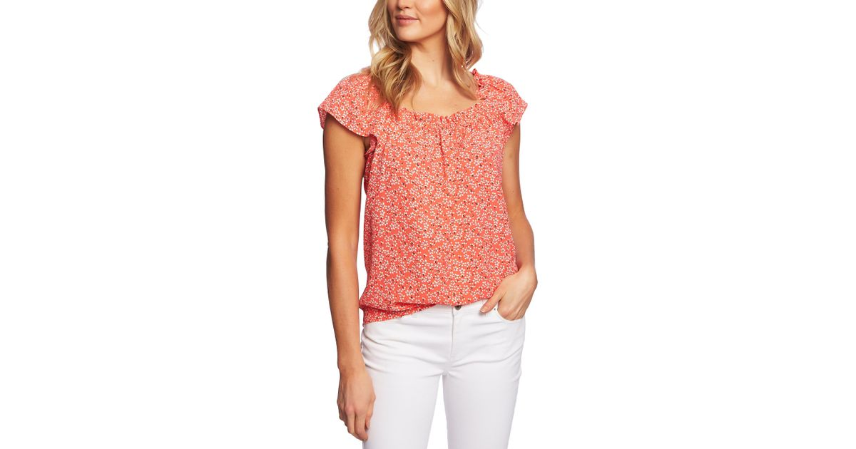 915d5259d2f42c Cece Sakura Delight Floral Ruffle Top in Pink - Save 41% - Lyst