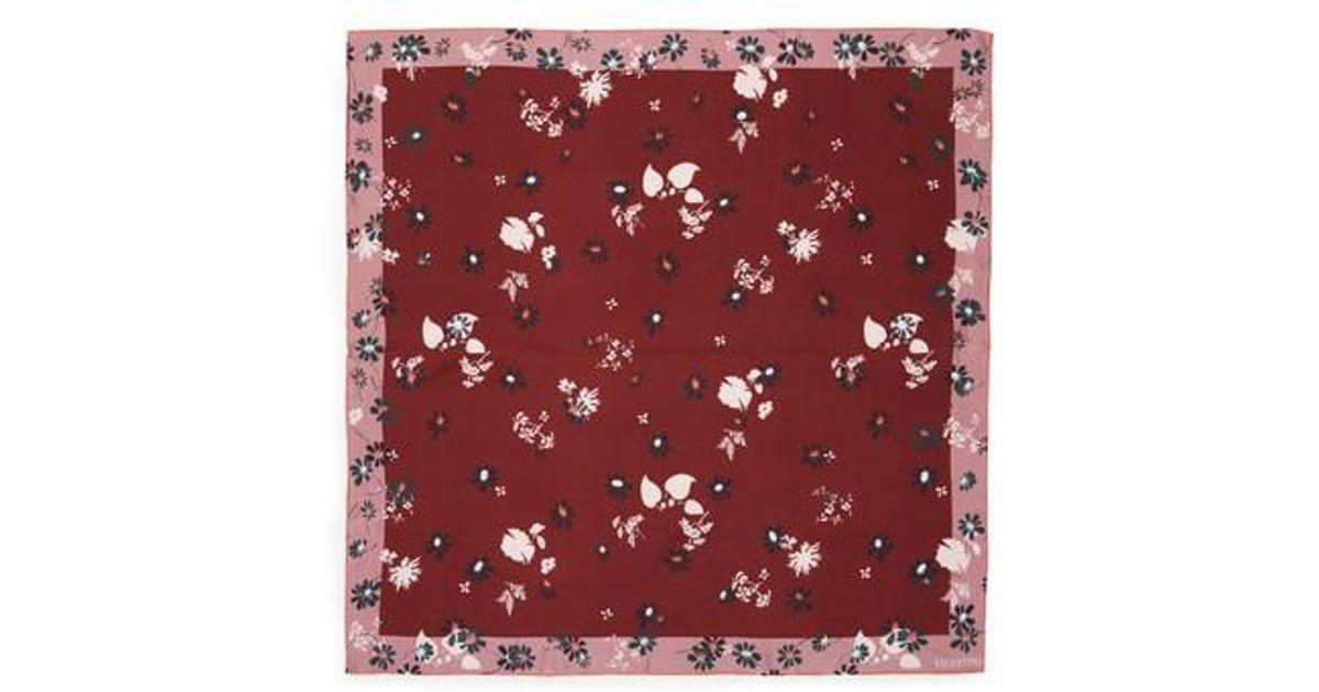 f5fd88538260 Lyst - Valentino Flowers Fall Silk Scarf in Red