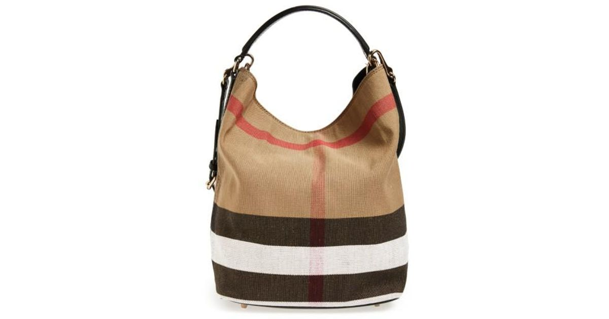 8ce77f032875 Lyst - Burberry Medium Susanna Check Print Bucket Bag in Brown