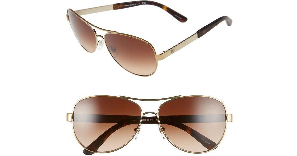 728a4837b852 Lyst - Tory Burch 59mm Aviator Sunglasses in Metallic
