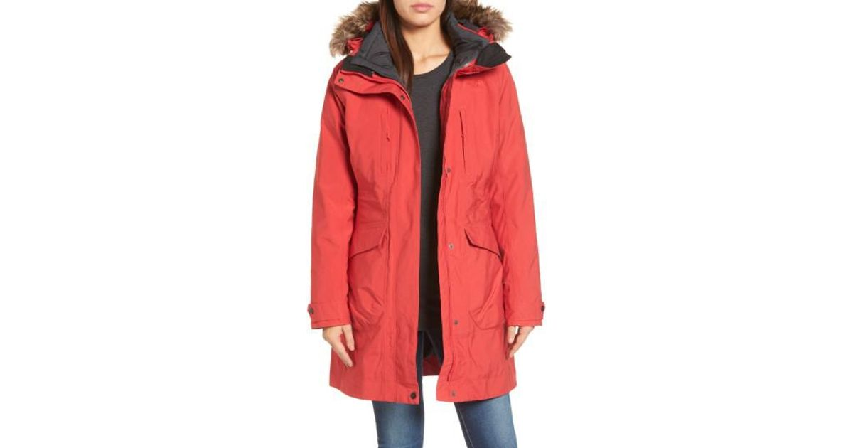 e40d46f79 The North Face Red Outer Boroughs 3-in-1 Triclimate Waterproof Jacket With  Faux Fur Trim