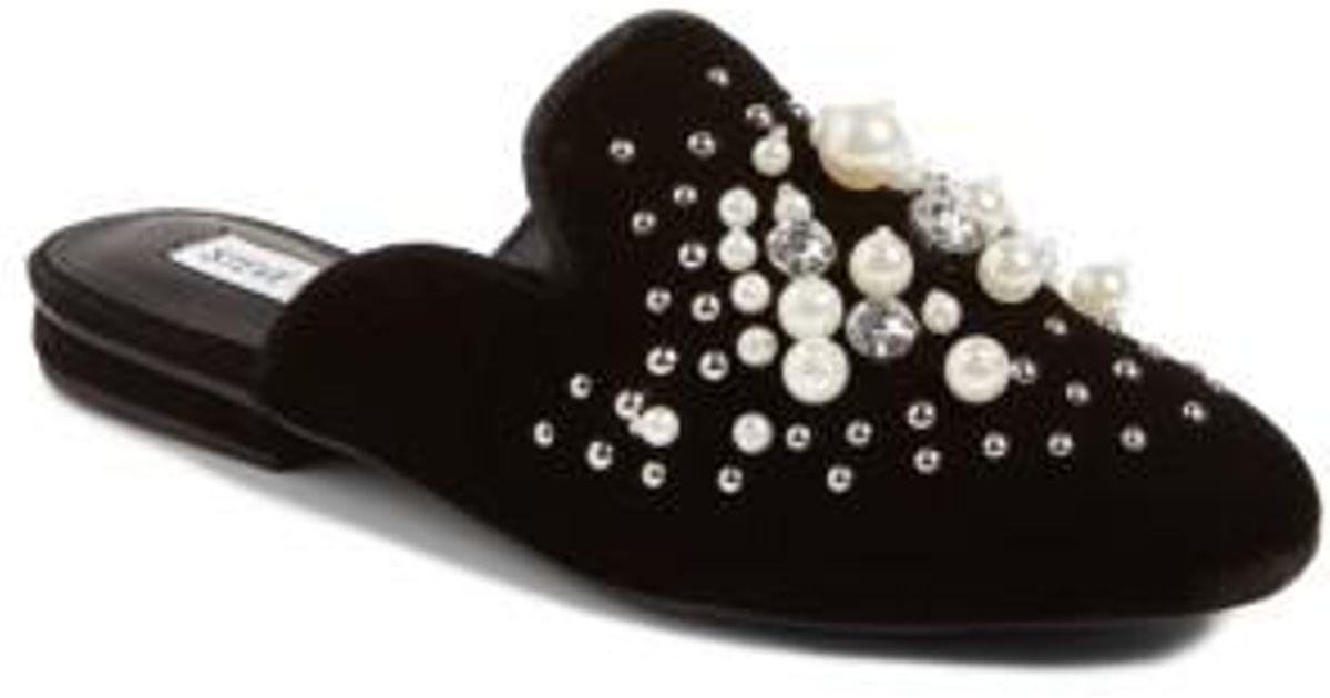 arriving how to buy coupon codes Steve Madden Velvet Imitation Pearl Embellished Mule in Black - Lyst