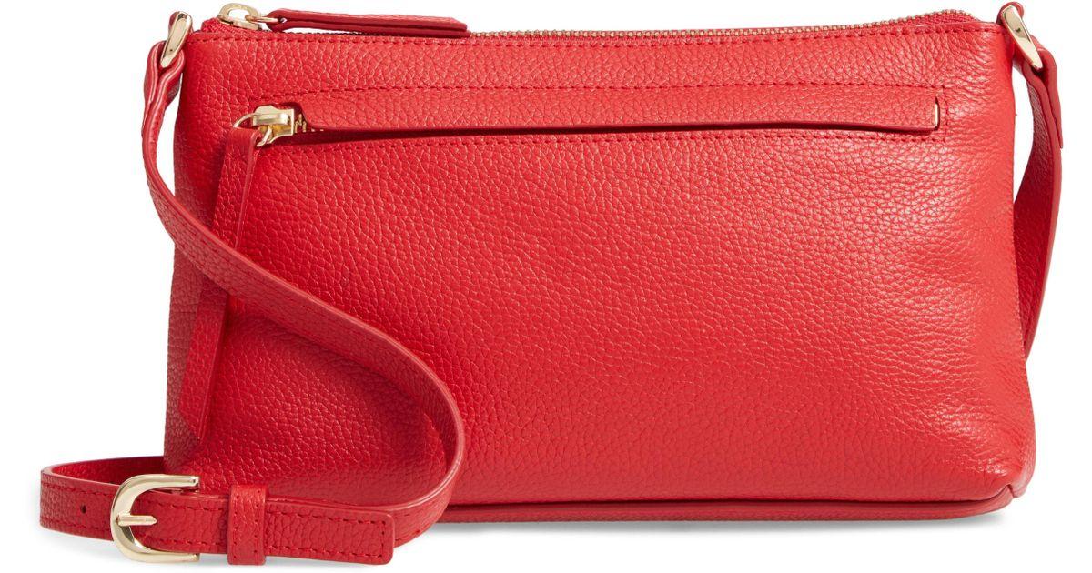 251d9f510494 Lyst - Nordstrom Mya Leather Crossbody Bag in Red
