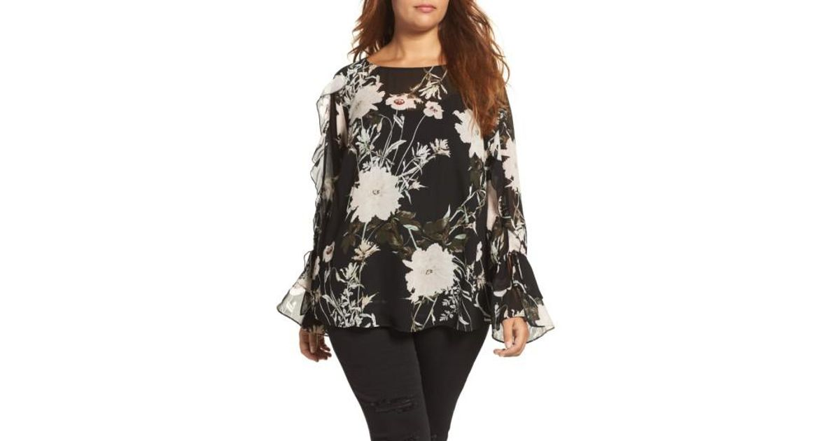 Lucky Brand Floral Print Bell Sleeve Top In Black Lyst
