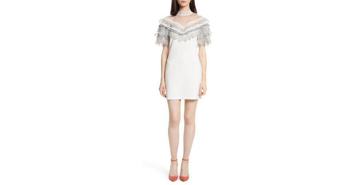 771cda966bf6 Self-Portrait Pleated Lace Trim Minidress in White - Lyst