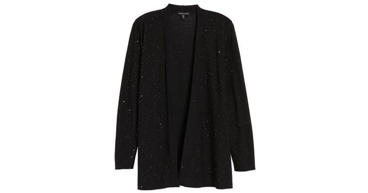 9fdd20ef3c23 Eileen Fisher Sequin Merino Wool Cardigan in Black - Lyst