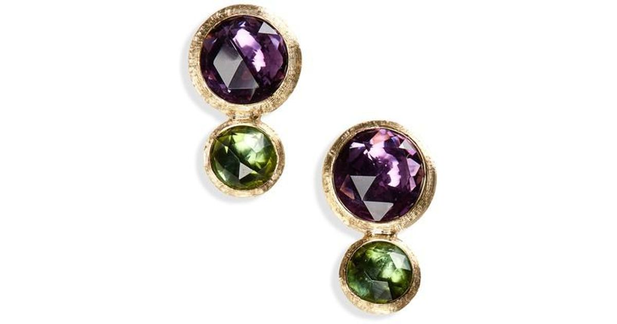 684cf4fd5e94 Lyst - Marco Bicego Jaipur Amethyst   Tourmaline Stud Earrings in Metallic