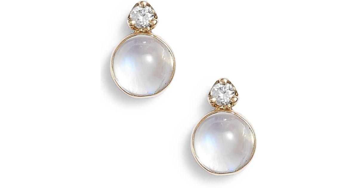 b4d062074 Zoe Chicco Moonstone & Diamond Stud Earrings in Metallic - Lyst