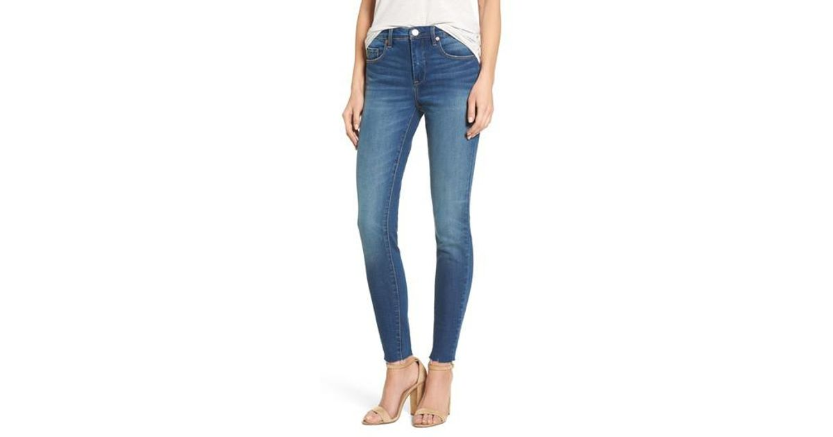 35757e80fe52 Lyst - Blank NYC The Bond Raw Hem Skinny Jeans (push Play) in Blue