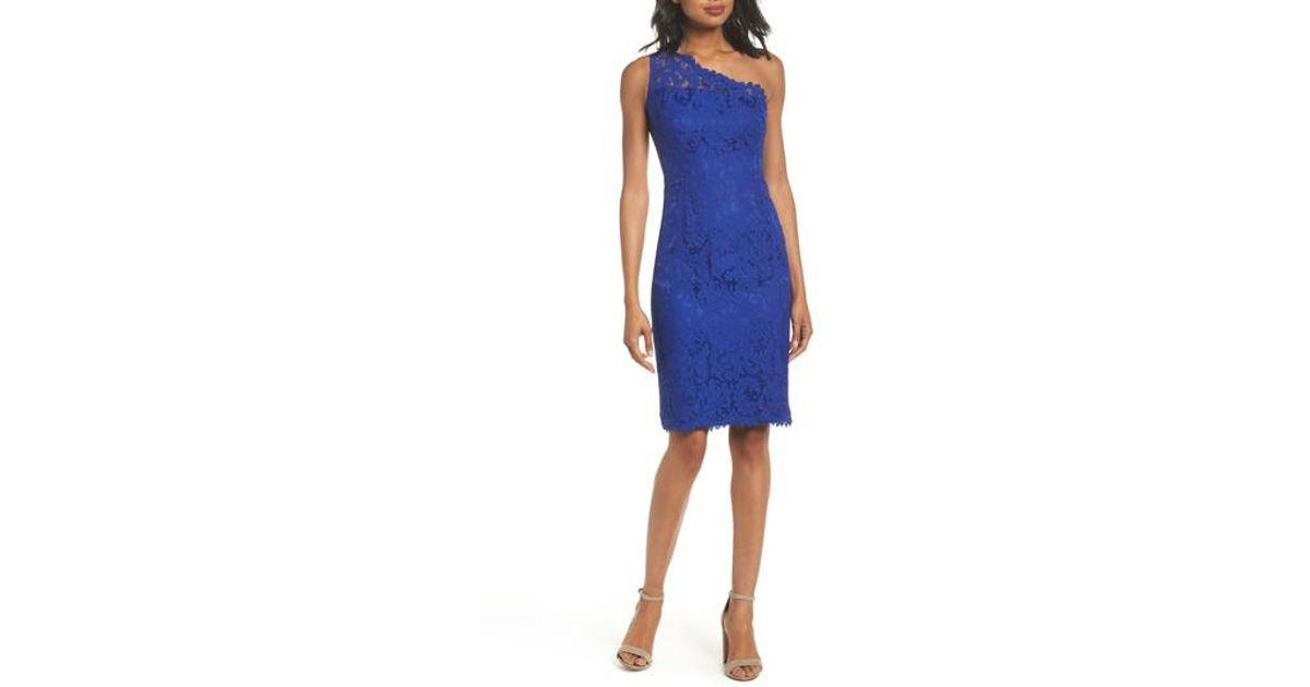 Eliza J Blue One Shoulder Lace Sheath Dress