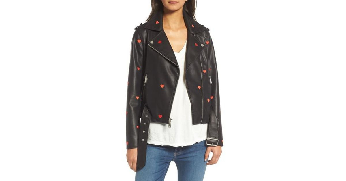 8985bc914770 Lyst - BCBGeneration Heart Embroidered Faux Leather Moto Jacket in Black