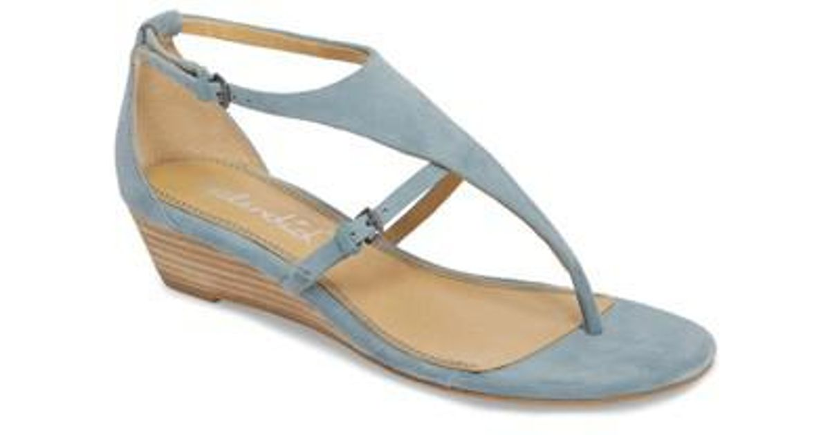 60eee30f28 Lyst - Splendid Brooklyn V-strap Wedge Sandal in Blue