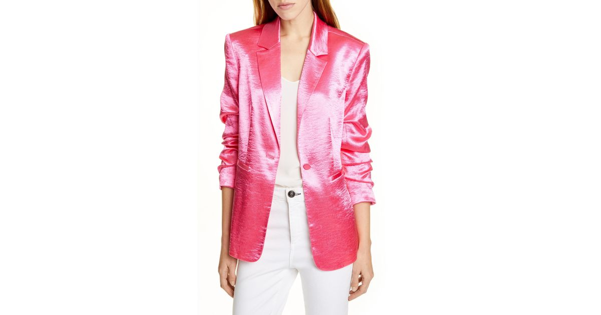 ebc4fc21c21 Lyst - Cinq À Sept Kylie Hammered Satin Jacket in Pink