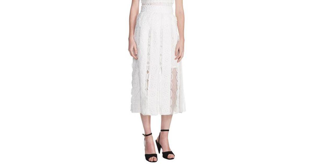 6bdb90ac3b Maje Janila Lace Midi Skirt in White - Lyst