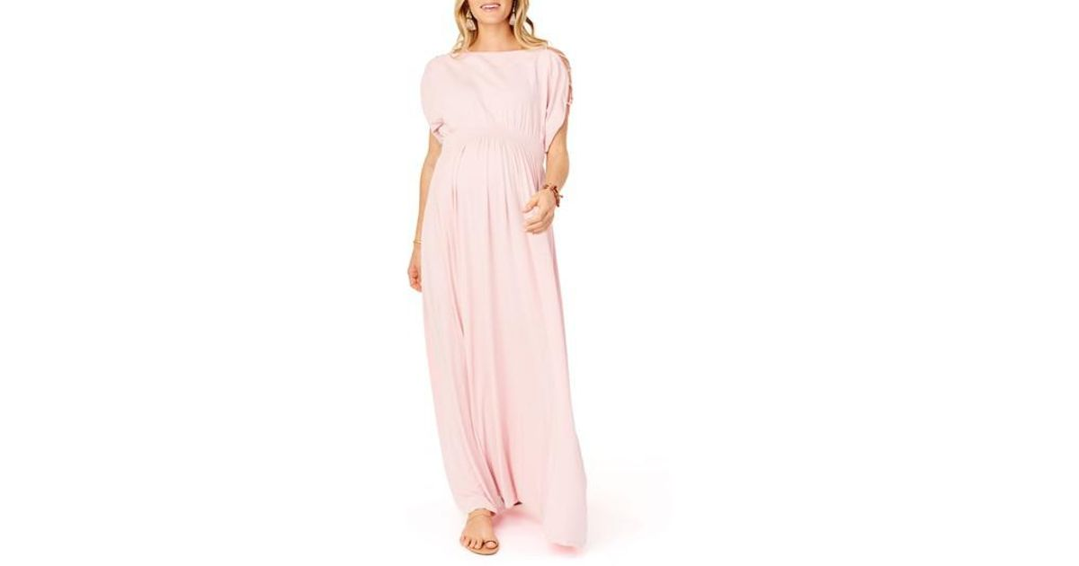 887a7ef09b9d Ingrid & Isabel Maternity Laced-sleeve Smocked Empire Maxi Dress in Pink -  Save 30% - Lyst