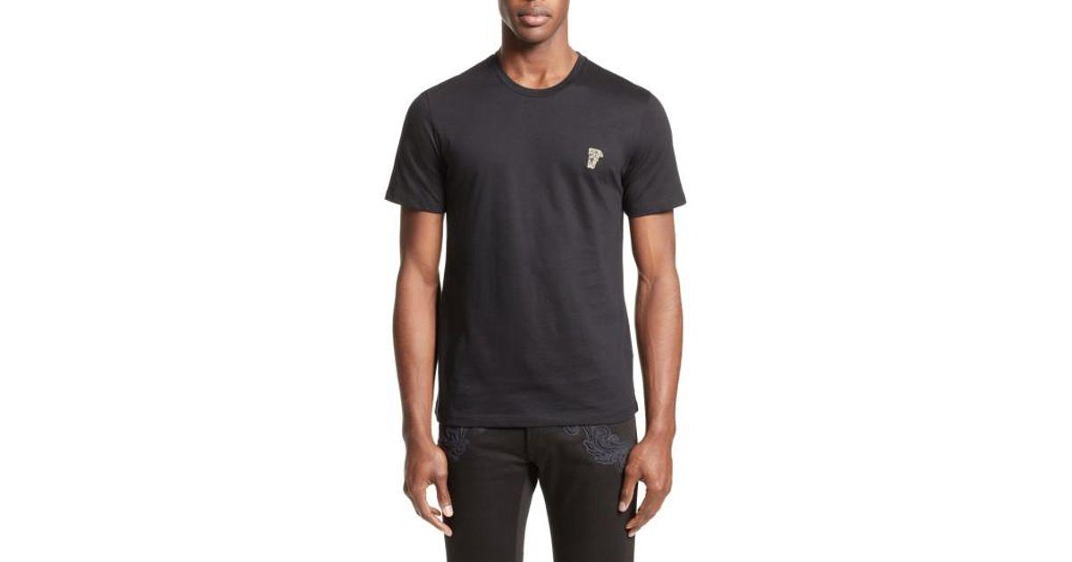 dc7504e4f Versace Half Medusa Patch T-shirt in Black for Men - Lyst