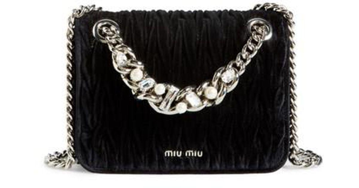 30ef83dca840 Lyst - Miu Miu Small Club Velvet Matelasse Shoulder Bag in Black