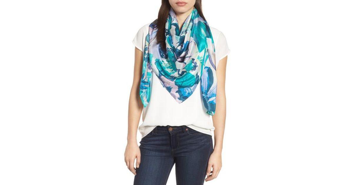 8c6df2654 Lyst - Nordstrom Print Silk Square Scarf in Blue