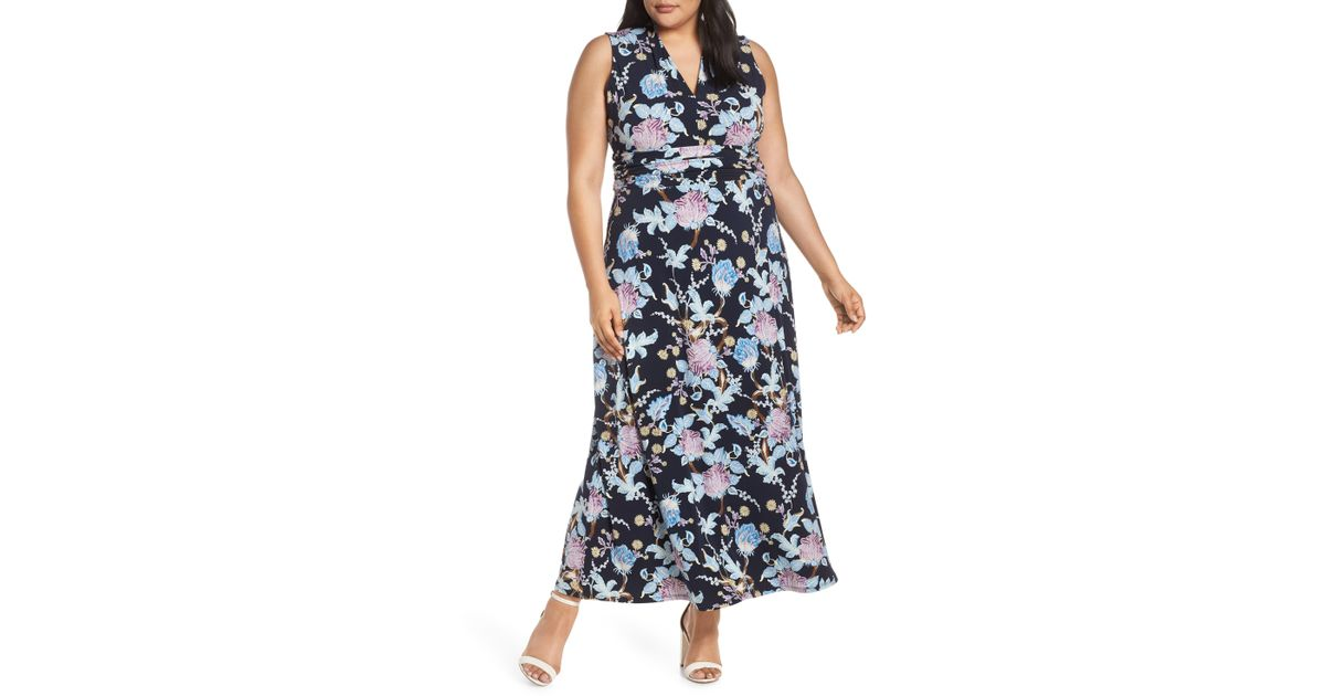 d37a3be96a6d Vince Camuto Signature Poetic Blooms Printed Maxi Dress in Blue - Save 40%  - Lyst