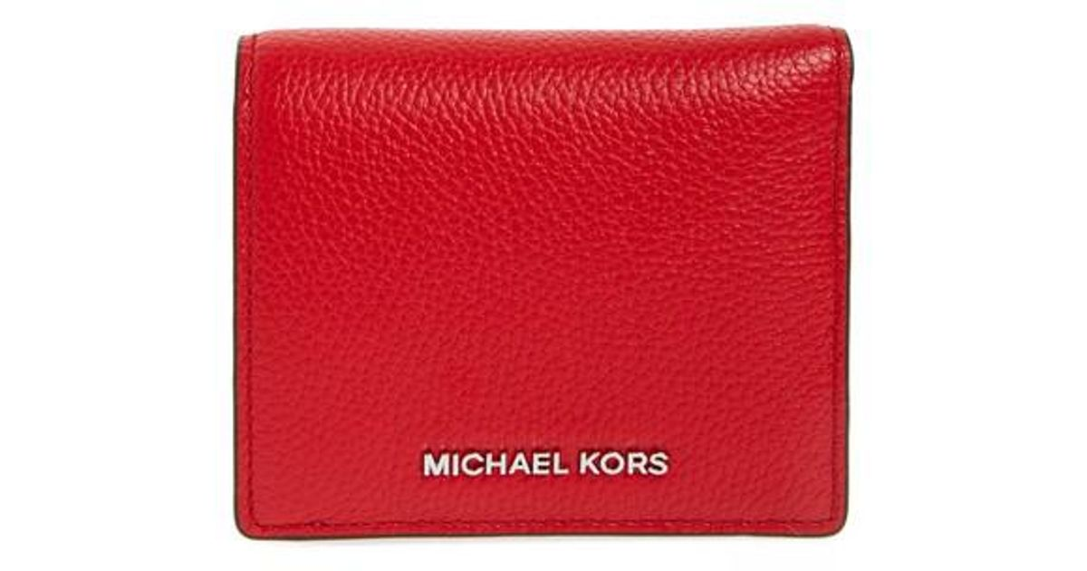b47454cd4f26c6 MICHAEL Michael Kors Mercer Leather Rfid Cardholder Wallet in Red - Lyst