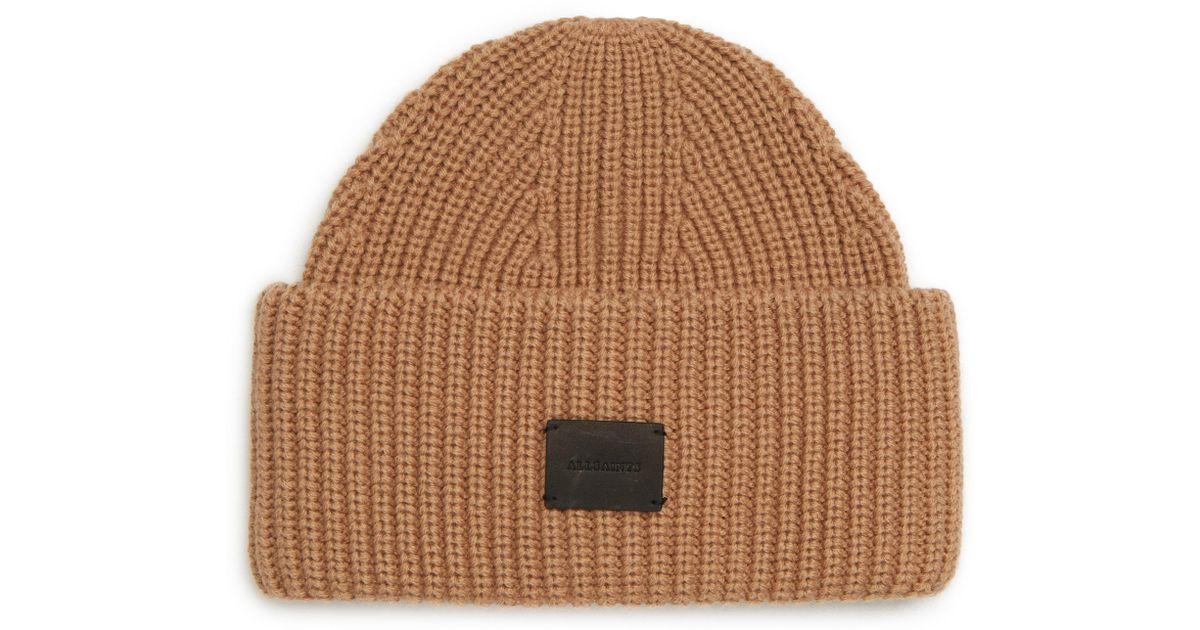 f5cb8eac74b Lyst - AllSaints Half Cardigan Stitch Beanie in Natural