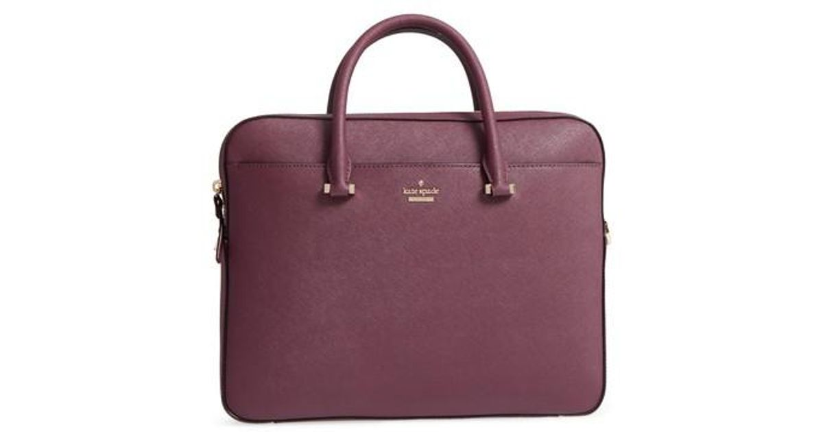 world-wide free shipping lovely design best place Kate Spade Black Saffiano Leather Laptop Bag - Purple