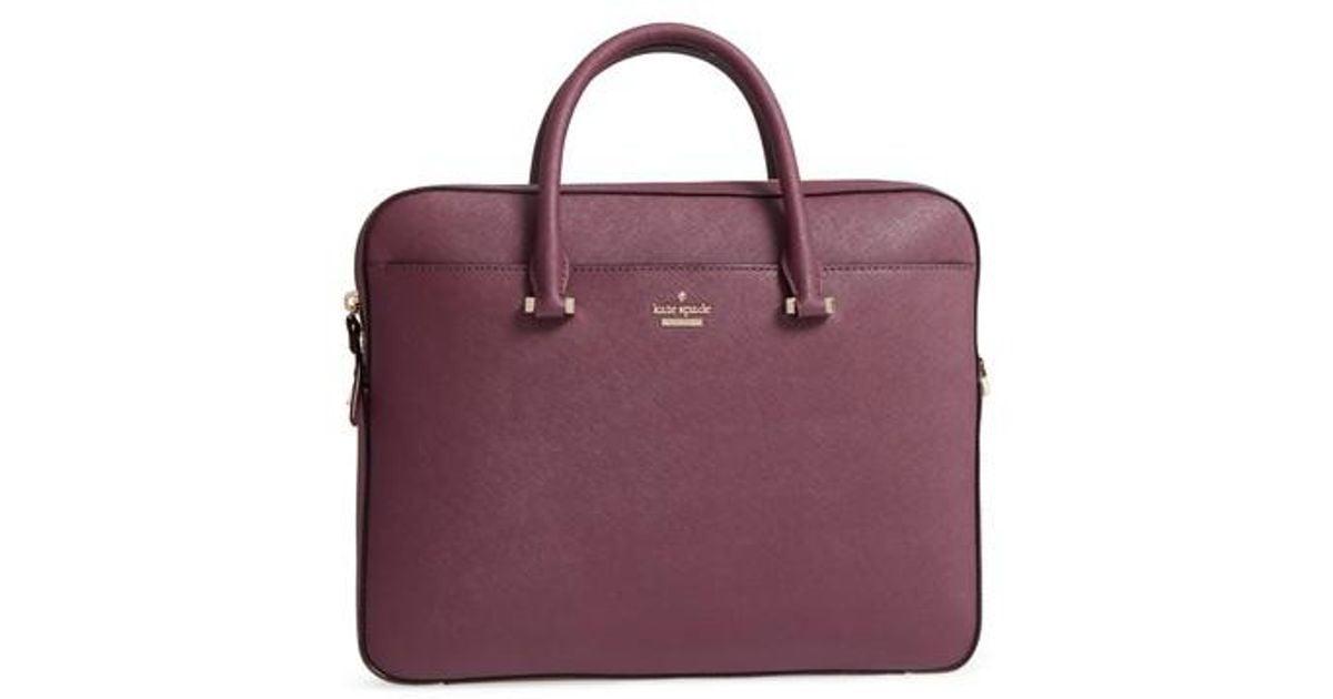 quality design a90ca 7b139 Kate Spade Black Saffiano Leather Laptop Bag - Purple