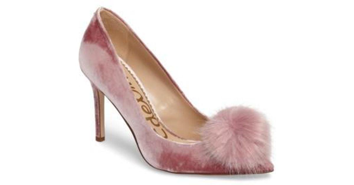 c23873b8121c Lyst - Sam Edelman Haroldson Pump With Faux Fur Pompom in Pink