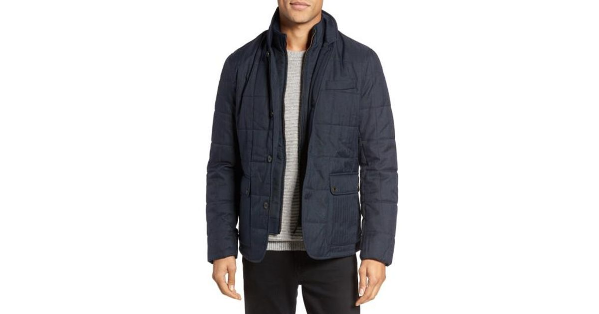f82111294bd11 Lyst Ted Baker Jasper Trim Fit Quilted Jacket With Removable Bib